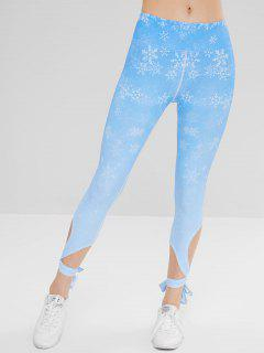 Sport Snowflake Cross Tied Yoga Leggings - Sky Blue L