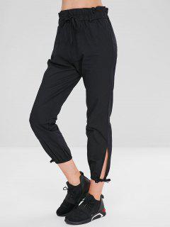 Pantalon Fendu De Couleur Unie Taille Haute - Noir L