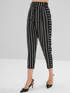 Elastic Waist Striped Sheer Pants - Black L