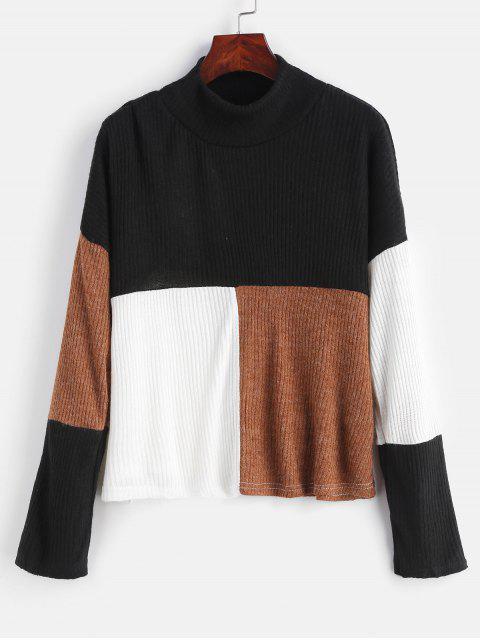 Mock-Neck-Farbblock-Pullover-Pullover - Multi L Mobile