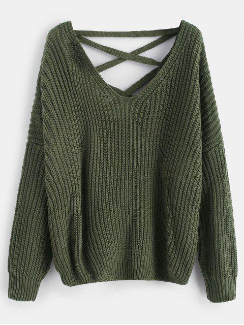 Lace Up Drop Schulter Chunky Sweater - Bundeswehrgrün Eine Größe Mobile