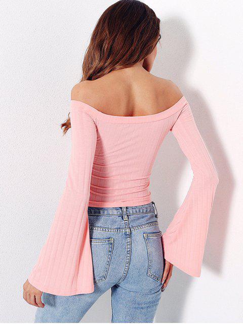 unique Off Shoulder Flare Sleeves Knitwear - LIGHT PINK M Mobile