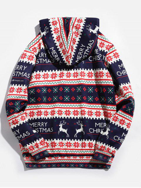 ladies Christmas Geometry Pattern Pullover Hoodie - RUBY RED M Mobile