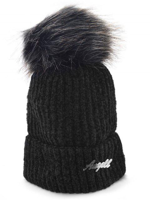 womens Solid Color Fuzzy Ball Knit Cap - BLACK  Mobile