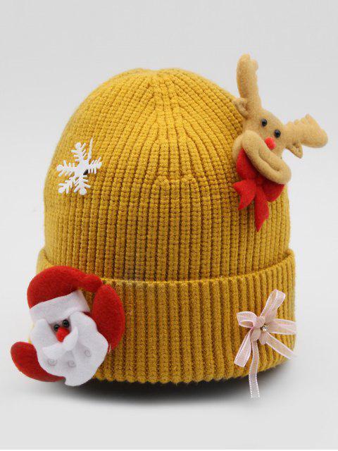 shop Santa Claus Elk Flanging Beanie - GOLDENROD  Mobile