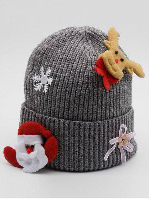 unique Santa Claus Elk Flanging Beanie - GRAY  Mobile