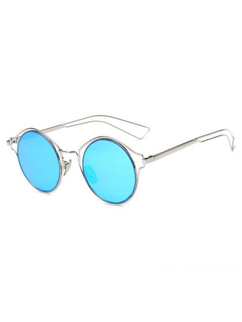 fashion Metal Frame Hollow Out Round Sunglasses - DEEP SKY BLUE  Mobile