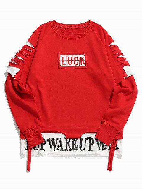 affordable Cut Out Letter False Two Piece Sweatshirt - RED L Mobile