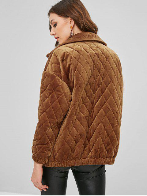 ZAFUL Manteau Zippé avec Poches en Laine - Brun Légère S Mobile