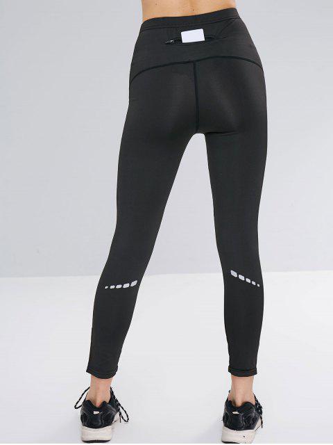 Diseño de rayas reflectantes bolsillo leggings - Negro XL Mobile