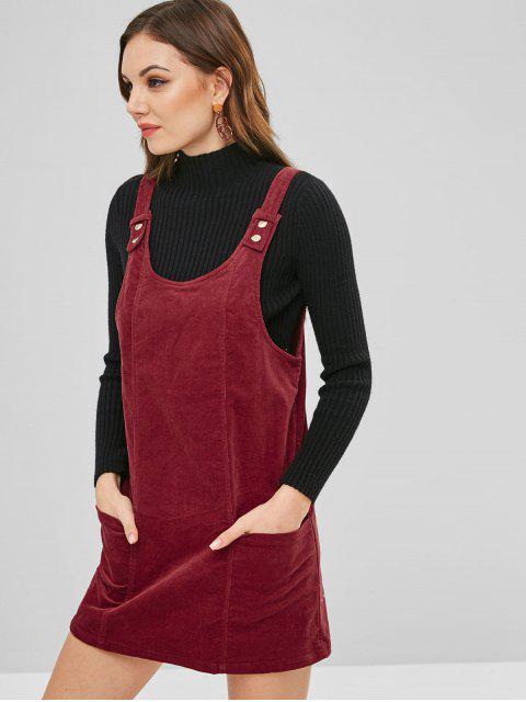 ZAFUL Robe Sans Dos en Velours Côtelé - Rouge Vineux S Mobile