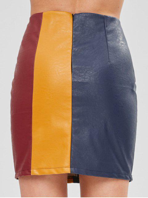 ZAFUL Minifalda de cuero sintético con minifalda - Multicolor S Mobile