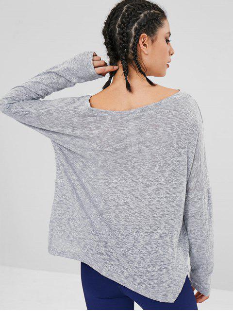 T-shirt Ample Fendu à Goutte Epaule - Gris L Mobile