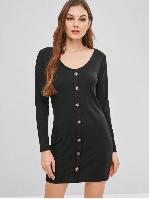 Vestido ajustado de manga larga de punto profundo - Negro L Mobile