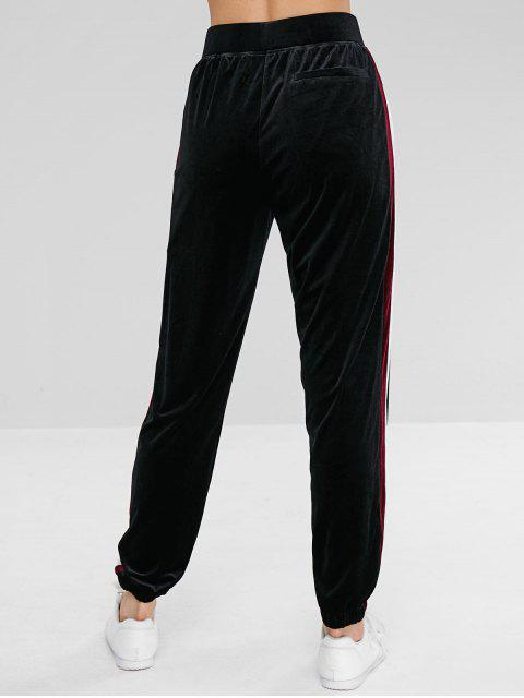 ZAFUL Striped Velvet Drawstring Jogger Pantalones - Negro L Mobile