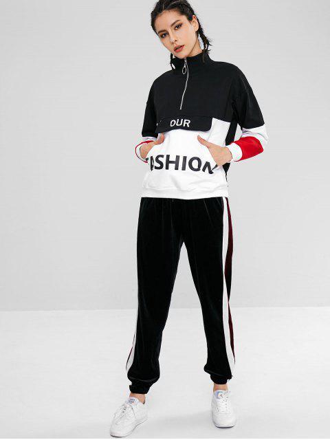 Farbblock-Beutel-grafisches Sport-Sweatshirt - Schwarz M Mobile