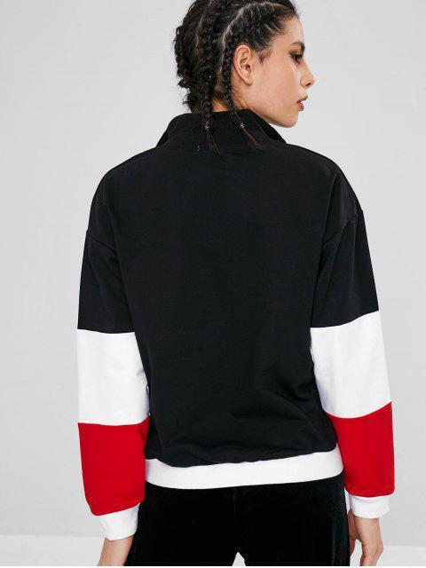 Farbblock-Beutel-grafisches Sport-Sweatshirt - Schwarz L Mobile