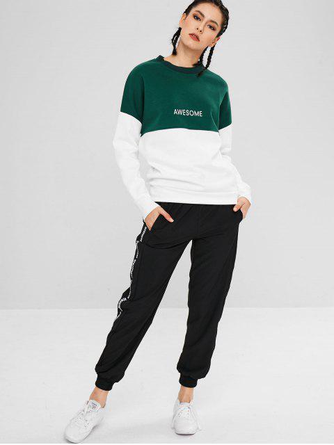 Sweat-shirt Athlétique Bicolore à Goutte Epaule - Vert L Mobile