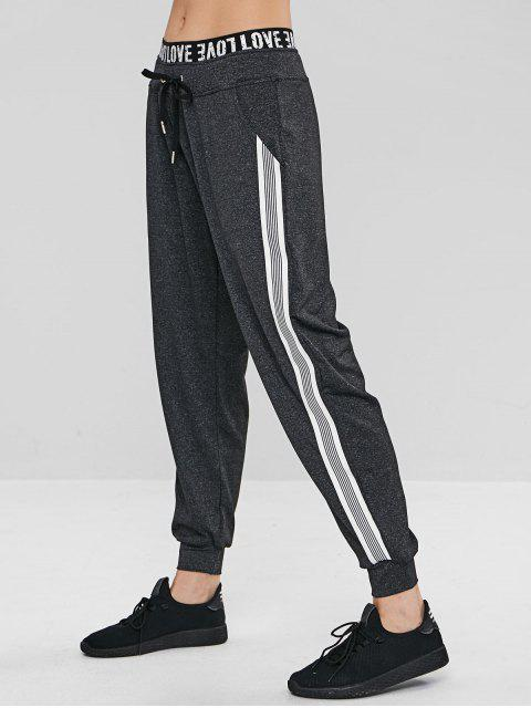 ZAFUL - Gestreifte Heather Drawstring-Joggerhose - Kohle Grau L Mobile