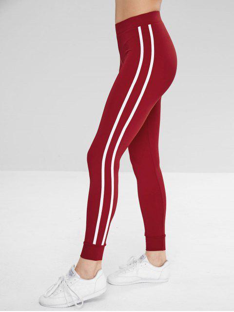 Pantalones de chándal de gimnasio lateral de contraste - Rojo Lava M Mobile