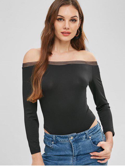 best Off The Shoulder Bodysuit - BLACK S Mobile