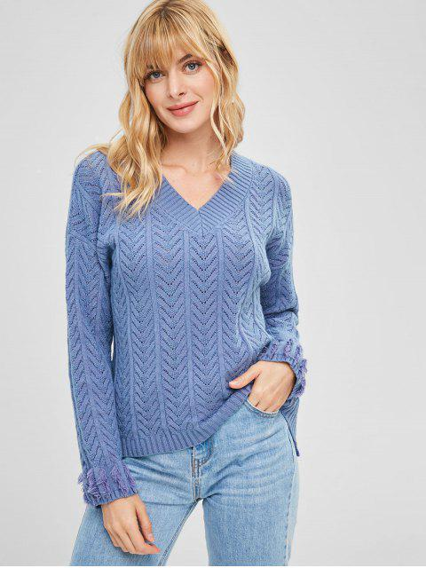Mit V-Ausschnitt ausgefranster High Low-Pullover - Kornblumenblau Eine Größe Mobile