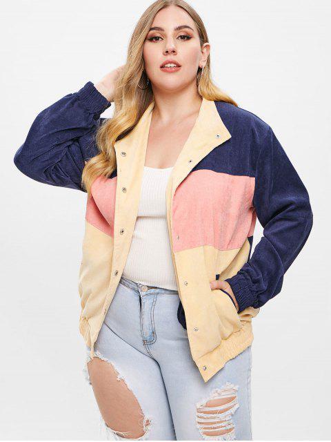affordable Corduroy Color Block Plus Size Jacket - MULTI-A L Mobile