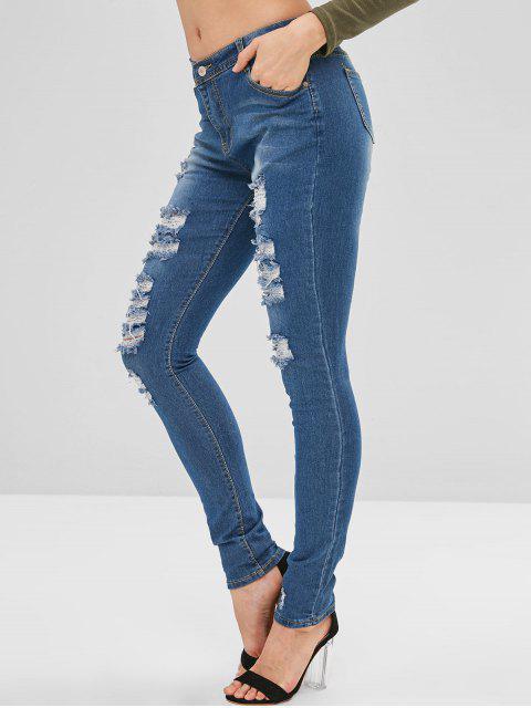 Jean cinq poches en détresse - Bleu Foncé Toile de Jean S Mobile