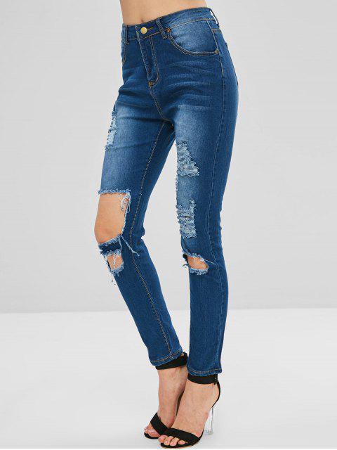 Pantalones vaqueros de cintura alta desgastados - Azul Oscuro de Denim M Mobile