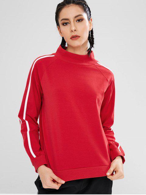 Sweat-shirt Rayure Latérale à Col Montant - Rouge M Mobile