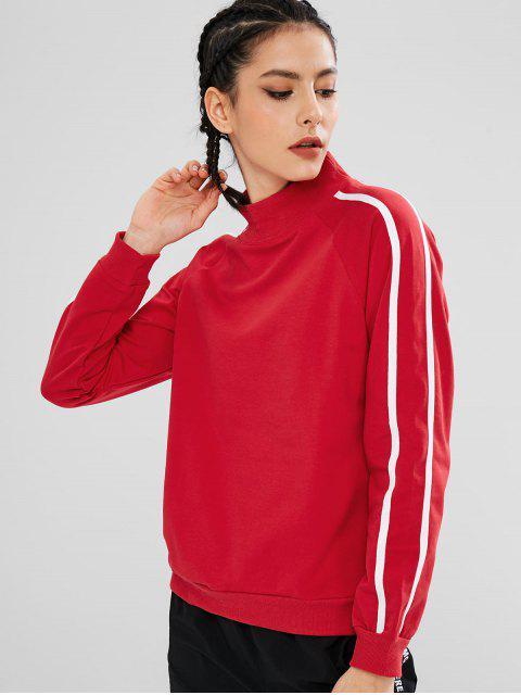 Sweat-shirt Rayure Latérale à Col Montant - Rouge L Mobile