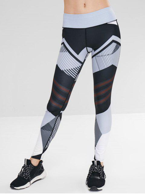 lady Color Block Geometric Pattern Leggings - MULTI S Mobile