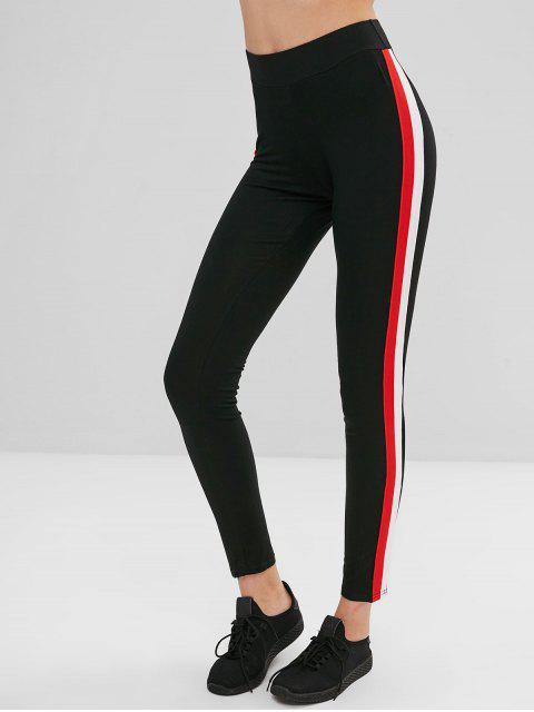 trendy Hit Color Ribbon Splicing Leggings - BLACK M Mobile