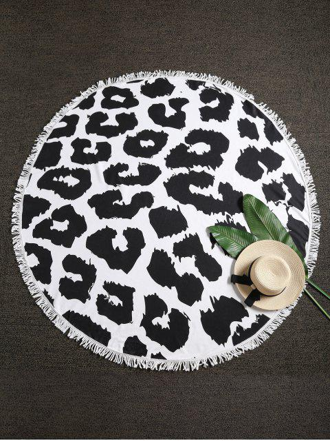 fancy Leopard Fringed Beach Blanket - MULTI-A ONE SIZE Mobile