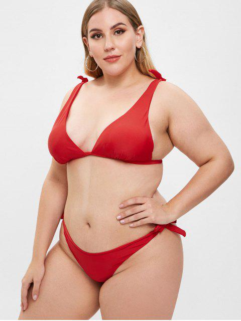 fancy ZAFUL Tied High Leg Plus Size Bikini Set - RED L Mobile