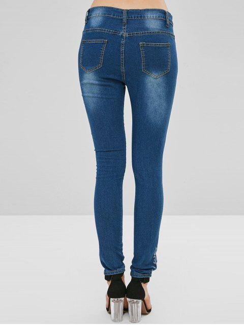 Flor bordada cremallera jeans - Azul Oscuro de Denim S Mobile