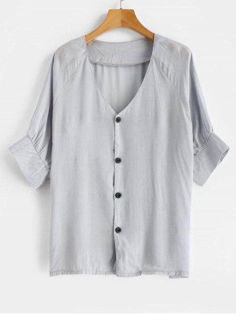 shop V Neck Buttons Raglan Sleeves Blouse - BABY BLUE L Mobile