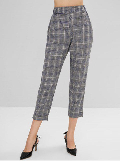 trendy High Waist Houndstooth Pants - MULTI L Mobile