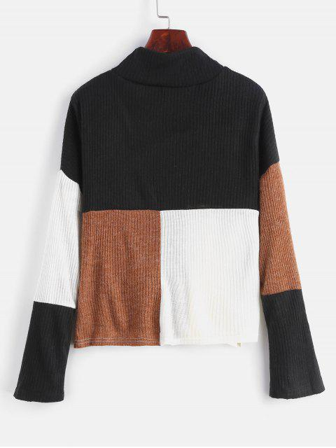 lady Mock Neck Color Block Pullover Sweater - MULTI XL Mobile