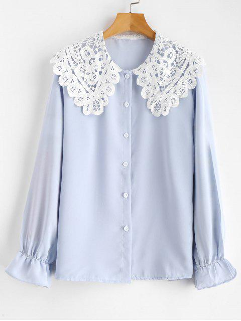 chic Lace Collar Blouse - BABY BLUE L Mobile