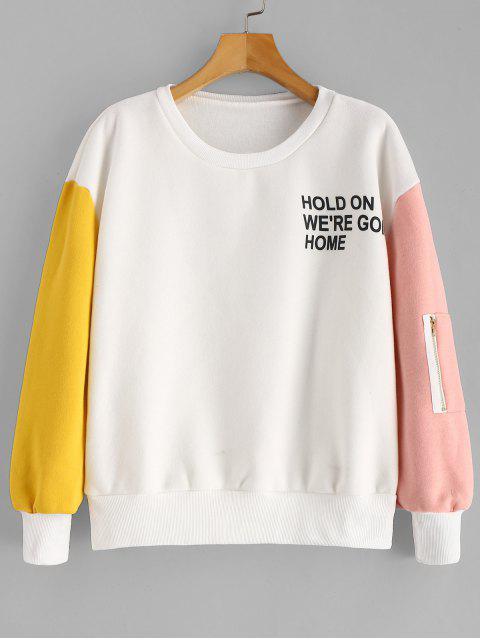 fancy Color Block Pullover Fleece Lined Sweatshirt - WHITE S Mobile