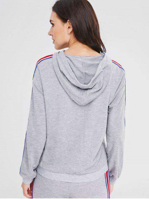 women's Ribbon Insert Front Pocket Hoodie - GRAY CLOUD M Mobile