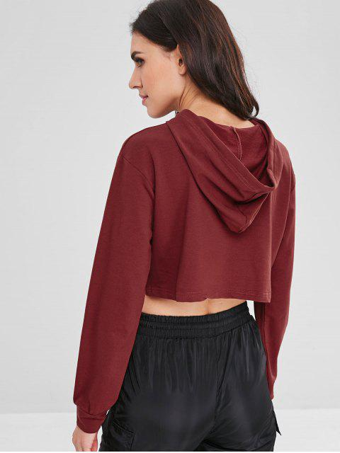 chic Patch Design Cropped Hoodie - RED WINE S Mobile
