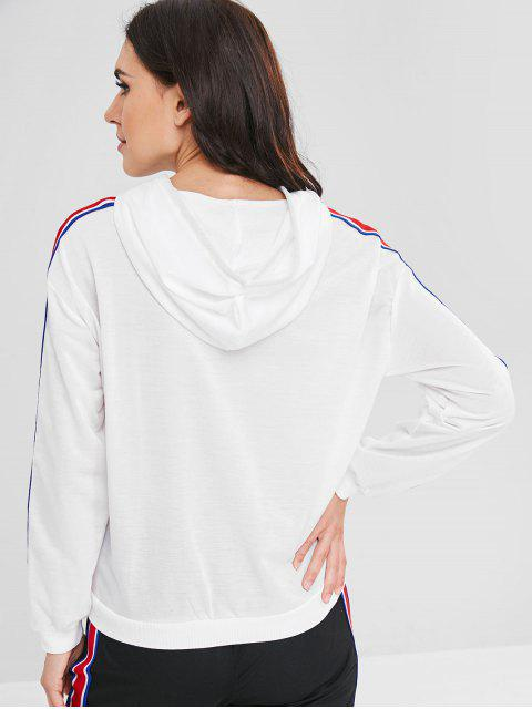 women's Ribbon Insert Front Pocket Hoodie - WHITE XL Mobile