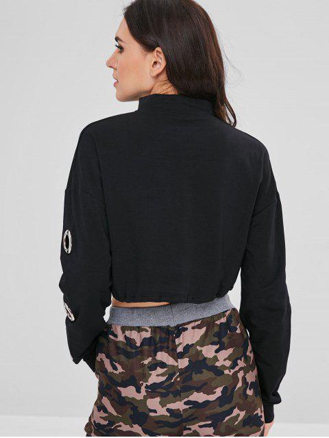 sale Mock Neck Eyelet Cropped Sweatshirt - BLACK L Mobile