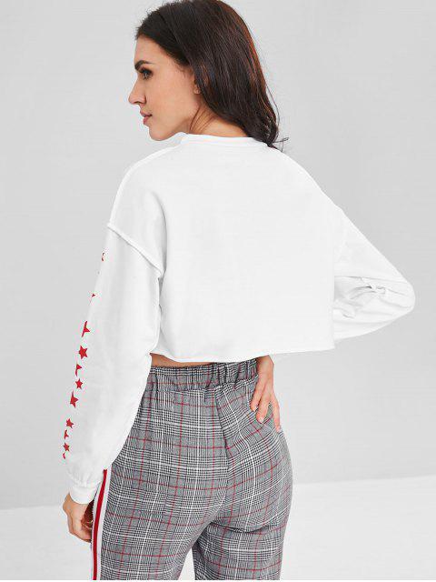 latest Star Graphic Crop Sweatshirt - WHITE ONE SIZE Mobile