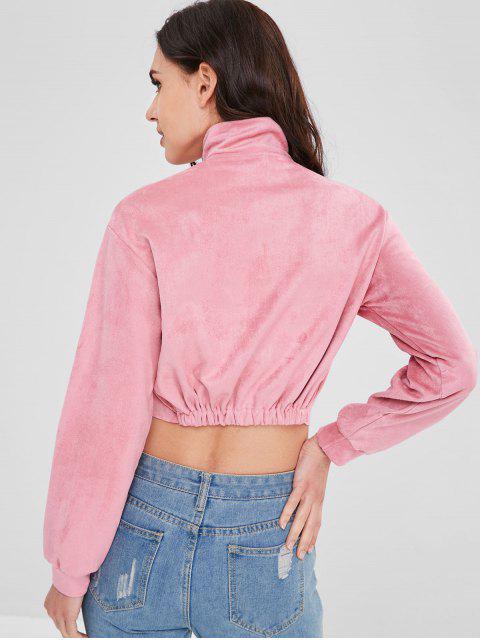 hot Graphic Half Zip Suede Cropped Sweatshirt - PINK S Mobile