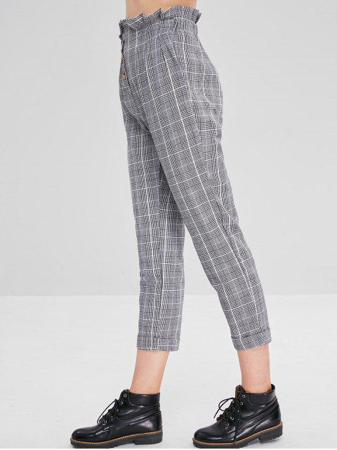 buy High Waist Houndstooth Button Fly Pants - MULTI M Mobile