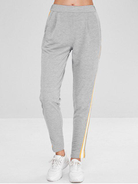online High Elastic Waist Solid Color Jogger Pants - GRAY GOOSE M Mobile