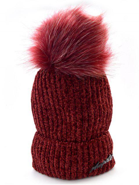 buy Solid Color Fuzzy Ball Knit Cap - RED WINE  Mobile